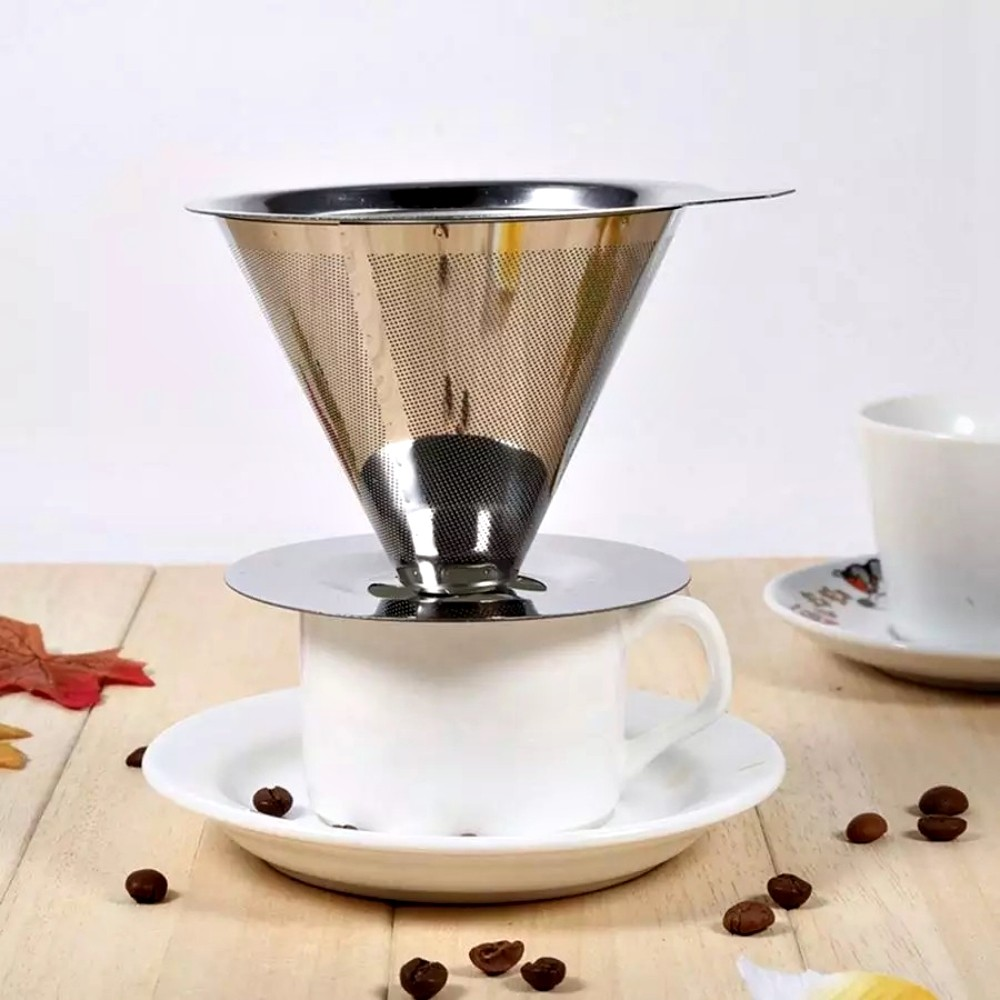 Coador Filtro Cafe Suporte Aço Inox Reutilizável