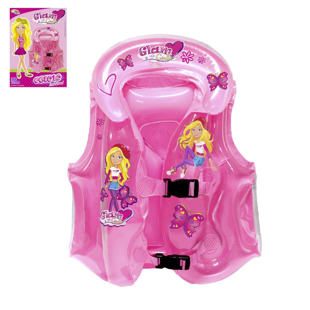 Colete Inflável Infantil c/ Encosto Menina Rosa