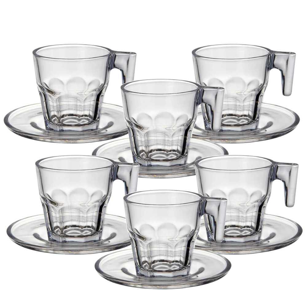 Conjunto 6 Xícaras De Vidro Com Pires Para Café Chá 70Ml