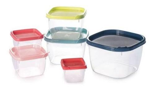 Conjunto de Potes de Plástico Quadrados 6 unidades