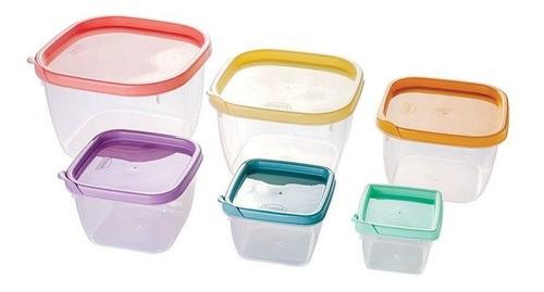 Conjunto de Potes Plástico Quadrados 6 unidades