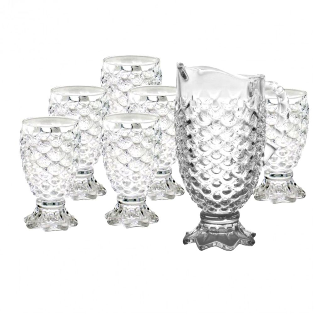 Conjunto Jarra Suqueira + 6 Taças Copos De Vidro Luxo