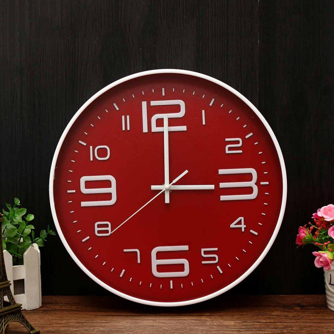 Relógio De Parede Moderno 29cm Vermelho