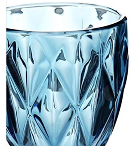 Copo Taça Bico De Jaca Vidro Para Vinho Água Diamante Azul