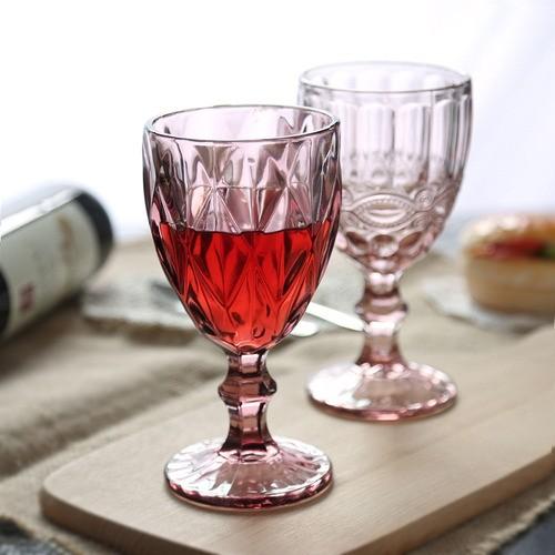 Copo Taça Bico De Jaca Vidro Para Vinho Água Diamante Rosa
