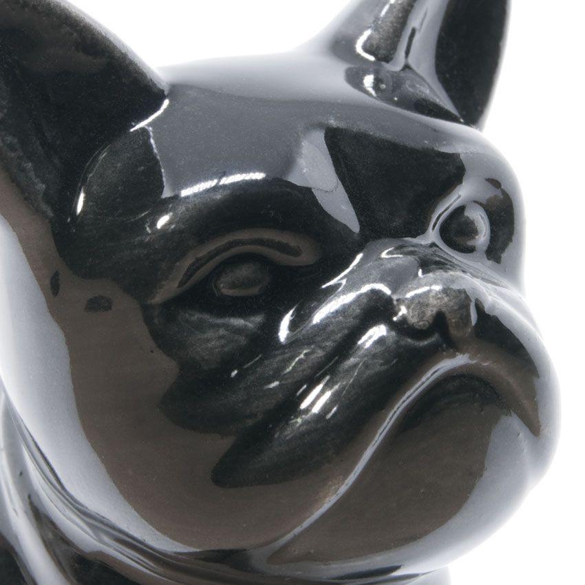 Enfeite Cachorro Bulldog Francês De Porcelana Preto