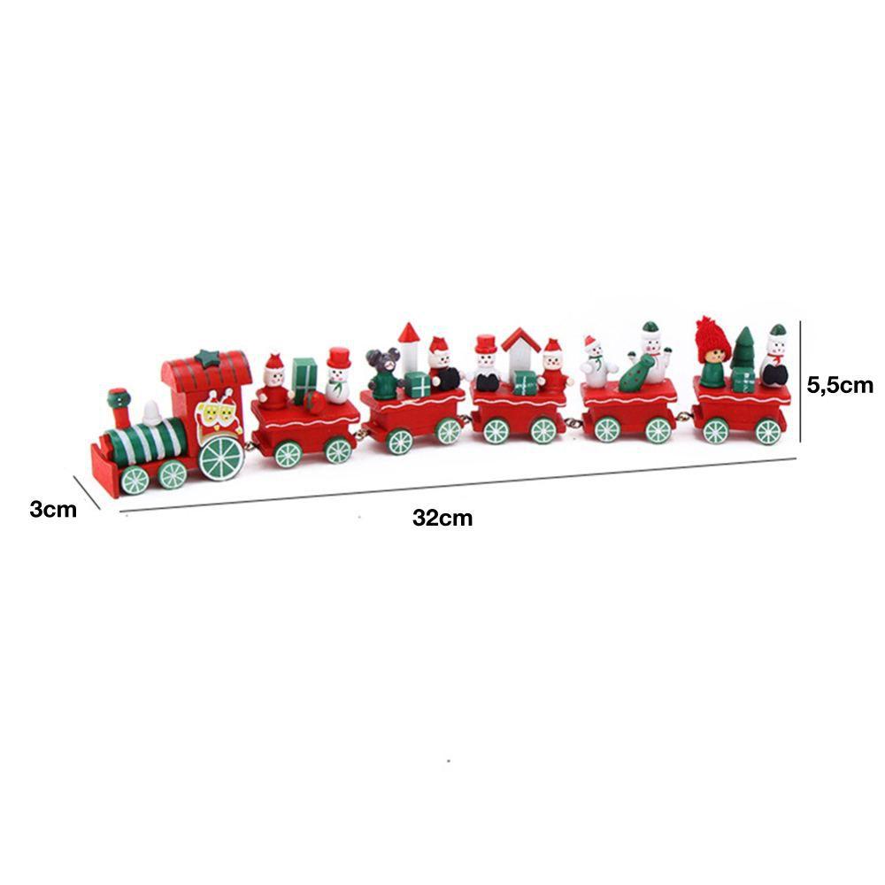 Enfeite Decoração Arvore De Natal Trem Madeira 32cm