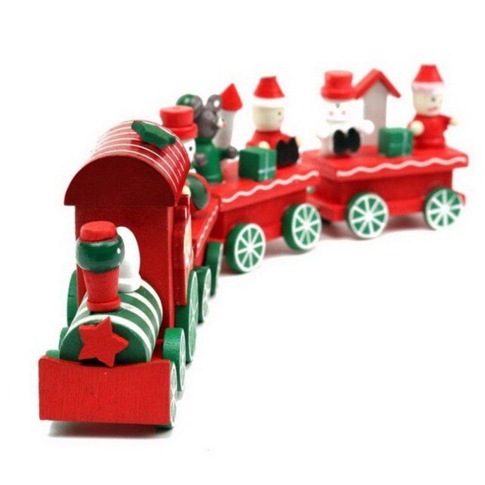 Enfeite Decoração De Natal Trem Madeira 21cm