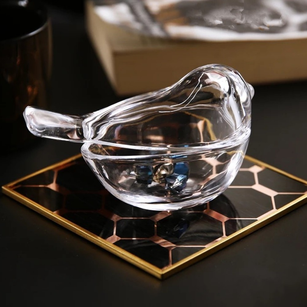Enfeite Decorativo Pássaro Porta Treco Joias Objetos Vidro