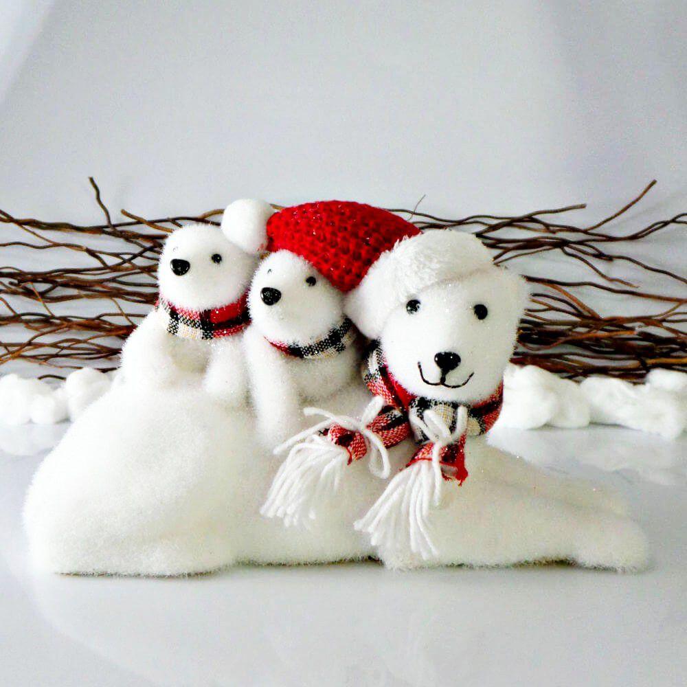Enfeite Natal Família Urso Polar Decoração De Natal
