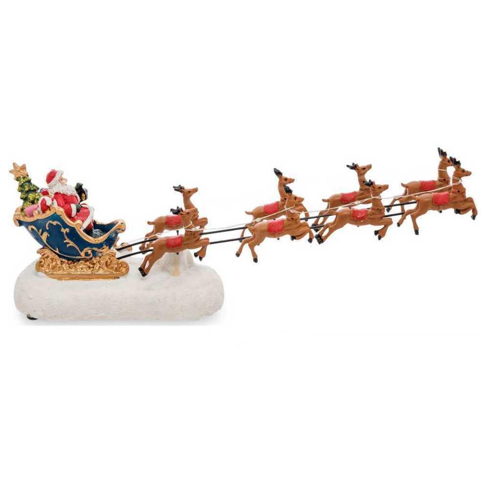 Enfeite Trenó Papai Noel Rena Com Led Decoração De Natal