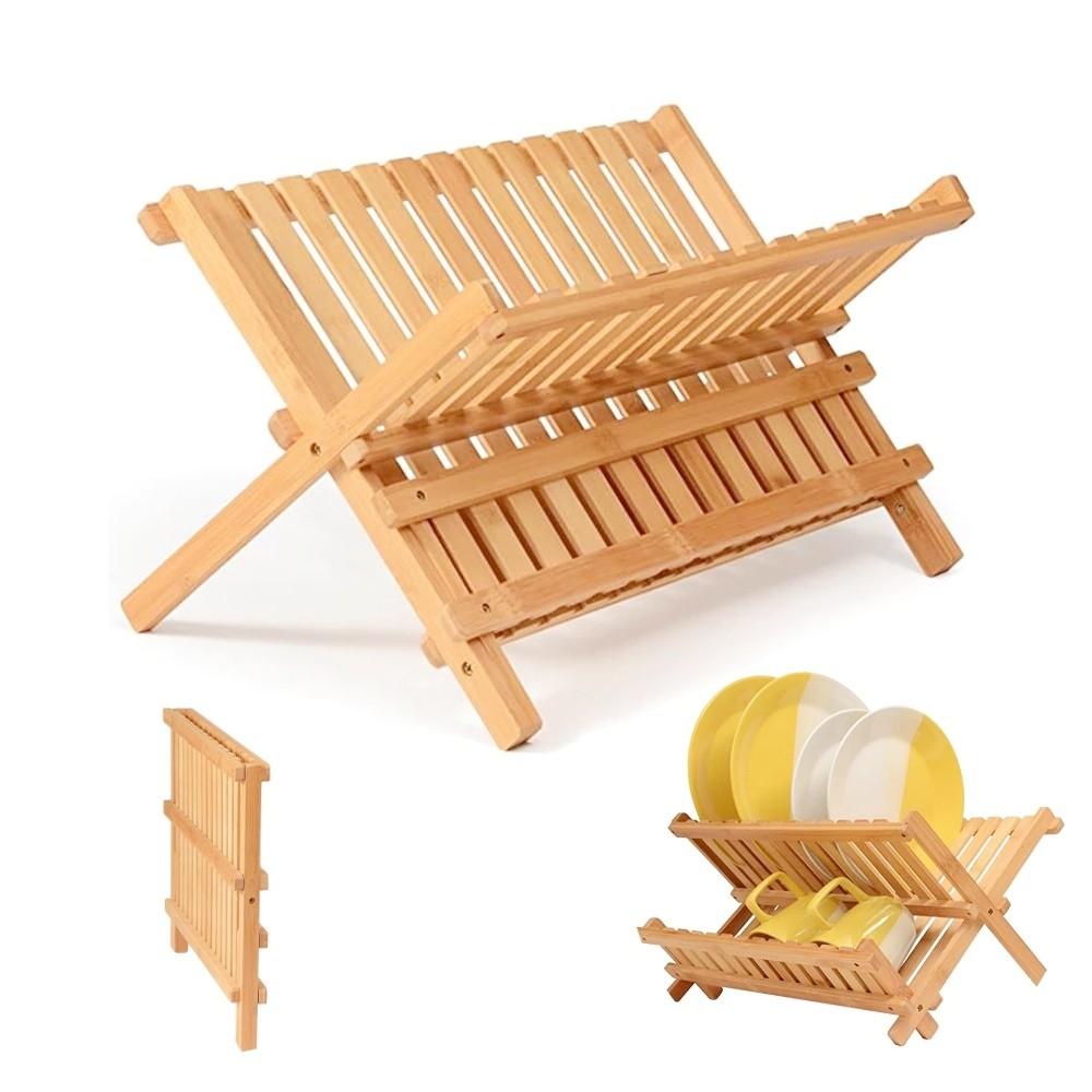 Escorredor De Louças Pratos Em Bambu Dobrável Cozinha