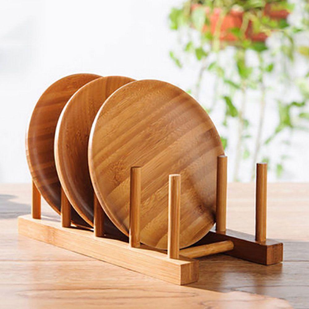 Escorredor Suporte Display Porta 6 Pratos Bambu