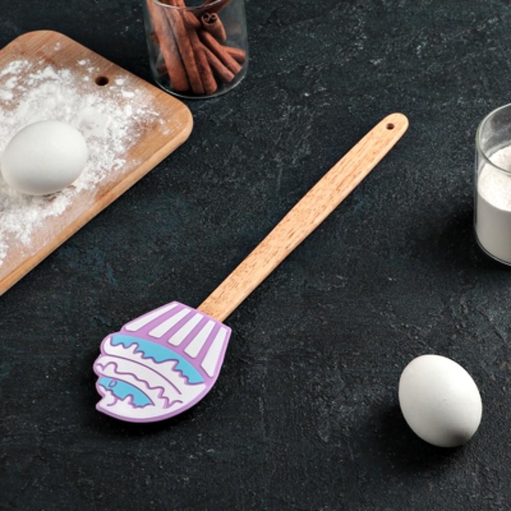 Espátula De Cupcake Silicone Com Cabo Madeira Cozinha