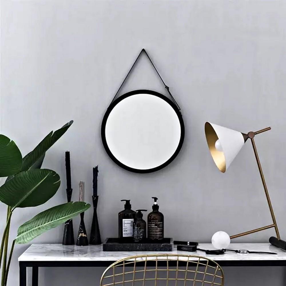 Espelho Decorativo De Parede Com Alça De Couro Redondo 45Cm
