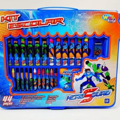 Estojo Kit Escolar Heros Quad - 44 Peças