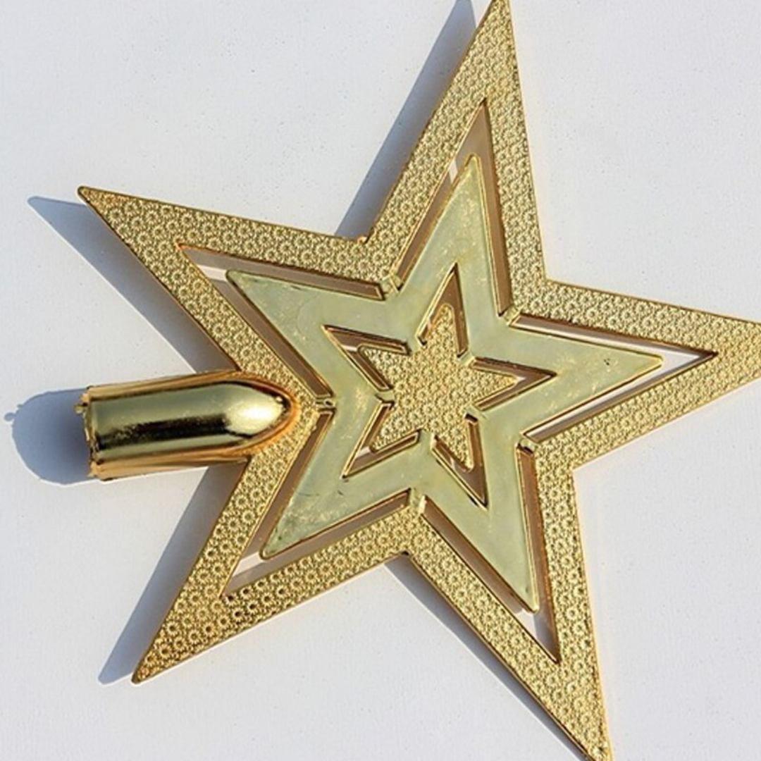 Estrela Ponteira Dourada 17cm Enfeite Árvore De Natal Natalino