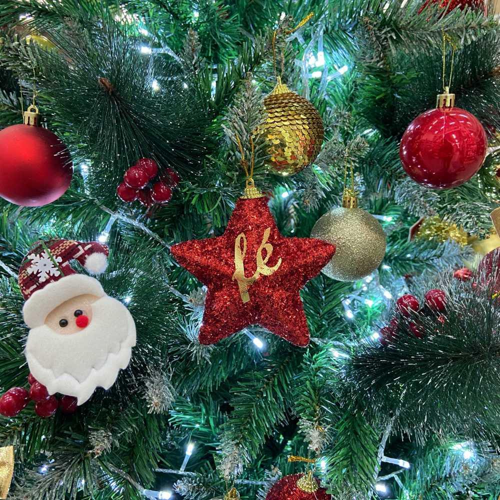 Estrela Vermelha Enfeite Decoração De Natal Árvore Fé
