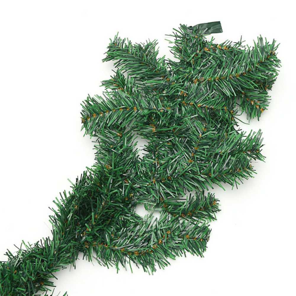 Festão Flocado Verde de 2 Metros 8 cm Enfeite De Natal
