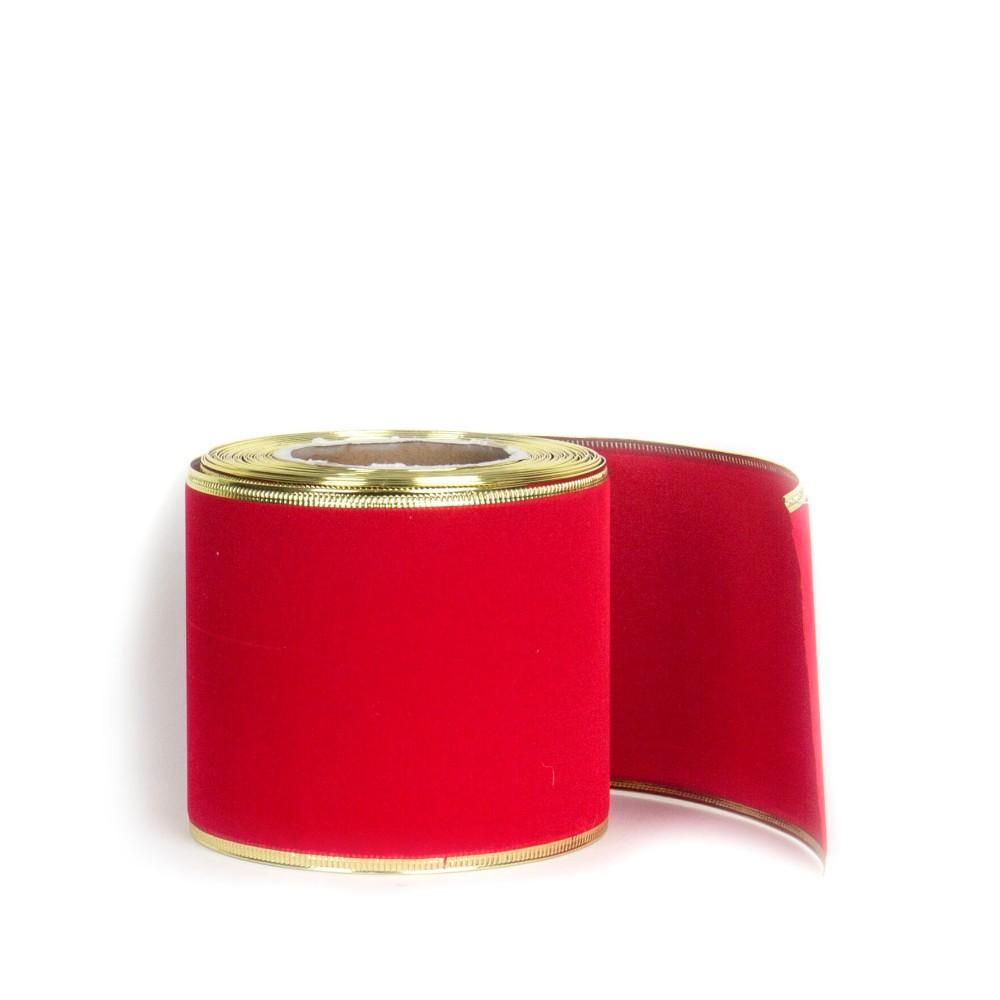 Fita De Veludo Aramada Vermelha Decoração De Natal Laço 9,1M