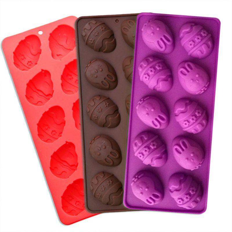 Forma De Silicone Ovo E Coelho De Páscoa Chocolate 10 Cavidades