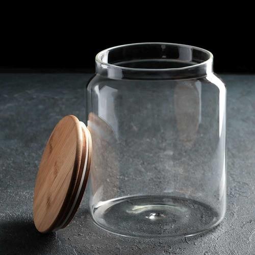 Frasco Potes De Vidro Hermético Tampa De Bambu 1000ML