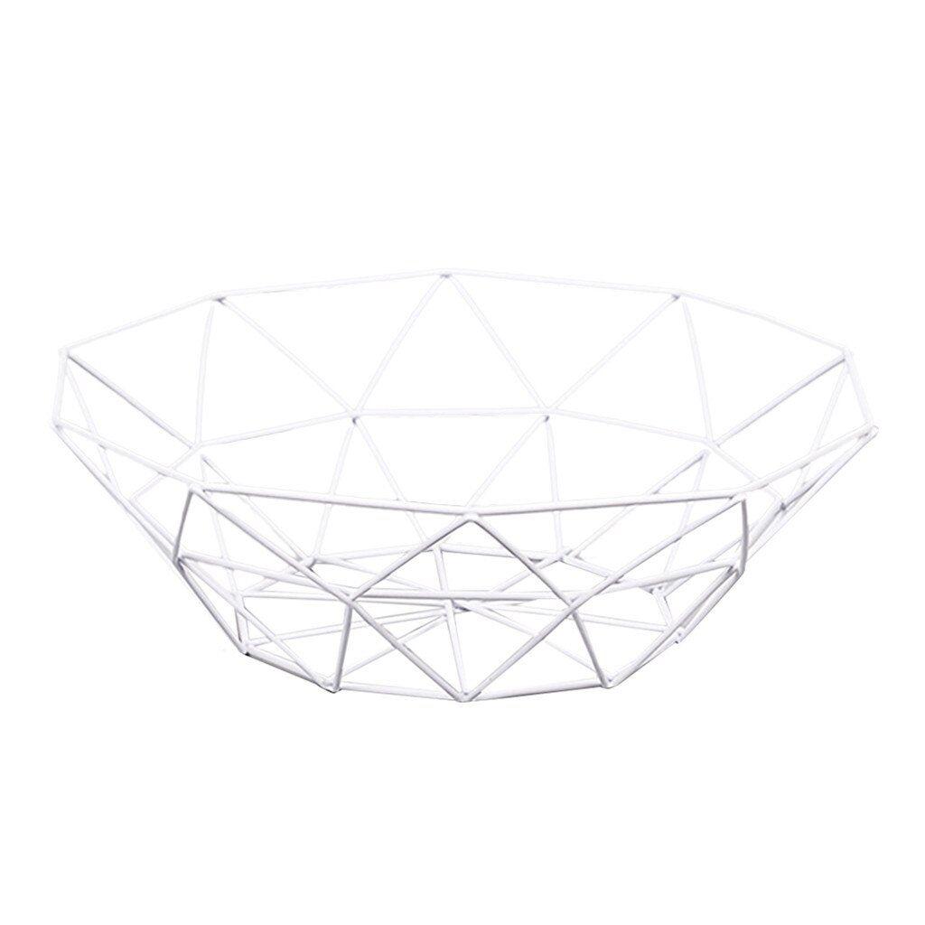 Fruteira Aramada Metal Branca Geométrica Minimalista
