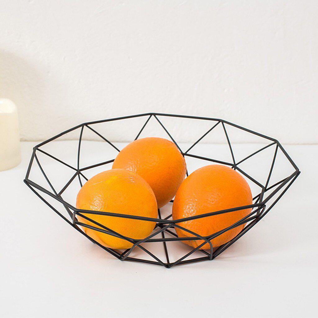Fruteira Aramada Metal Preta Geométrica Minimalista
