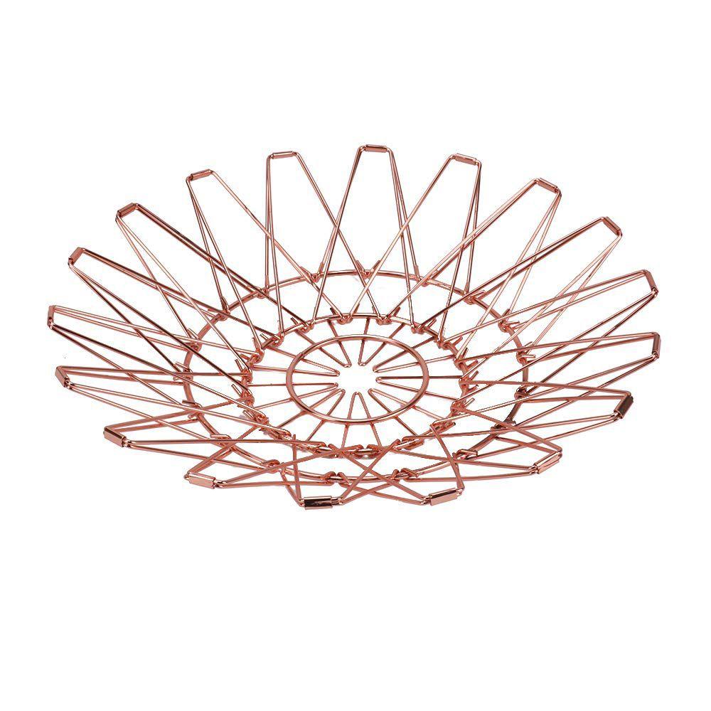 Fruteira Cesta Dobrável Rose Gold 5 Em 1 Decorada