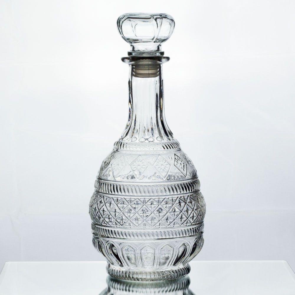 Garrafa De Vidro Retrô Trabalhada P/ Licor E Whisky Decoração