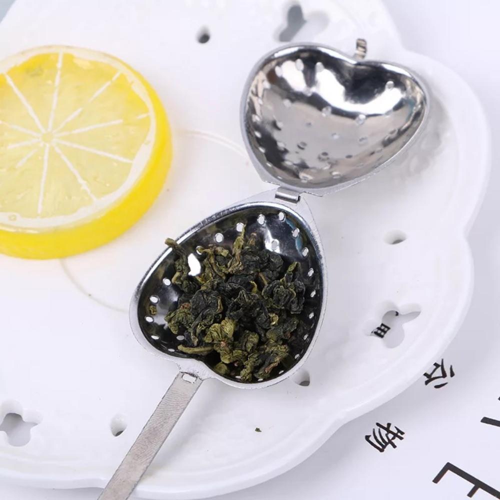 Infusor De Chá Aço Inoxidável Coração Coador Filtro Ervas