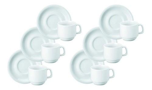 Jogo 6 Xícaras Chá C/pires Porcelana 150ML