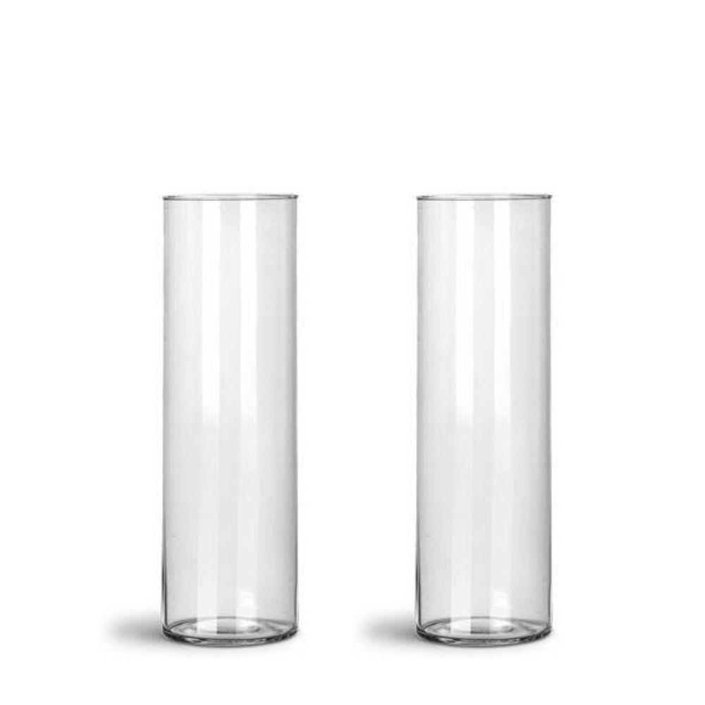Kit 02 Vasos Tubo Copo De Vidro 10 X 35cm Decoração Mesa