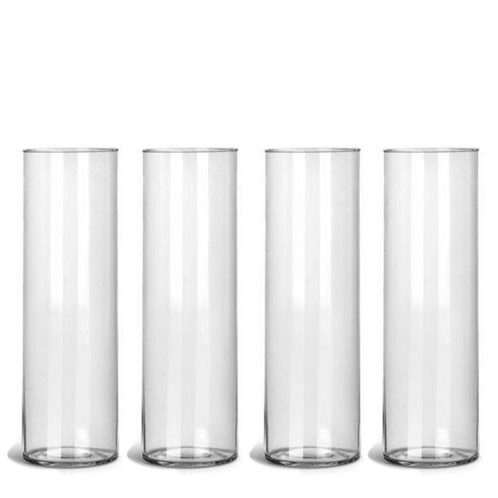 Kit 04 Vasos Tubo Copo De Vidro 10 X 35cm Decoração Mesa