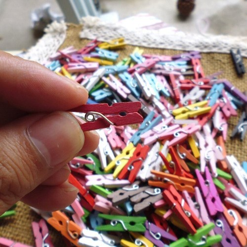 Kit 100 Mini Prendedor Pregador Madeira Lembrancinha Enfeite