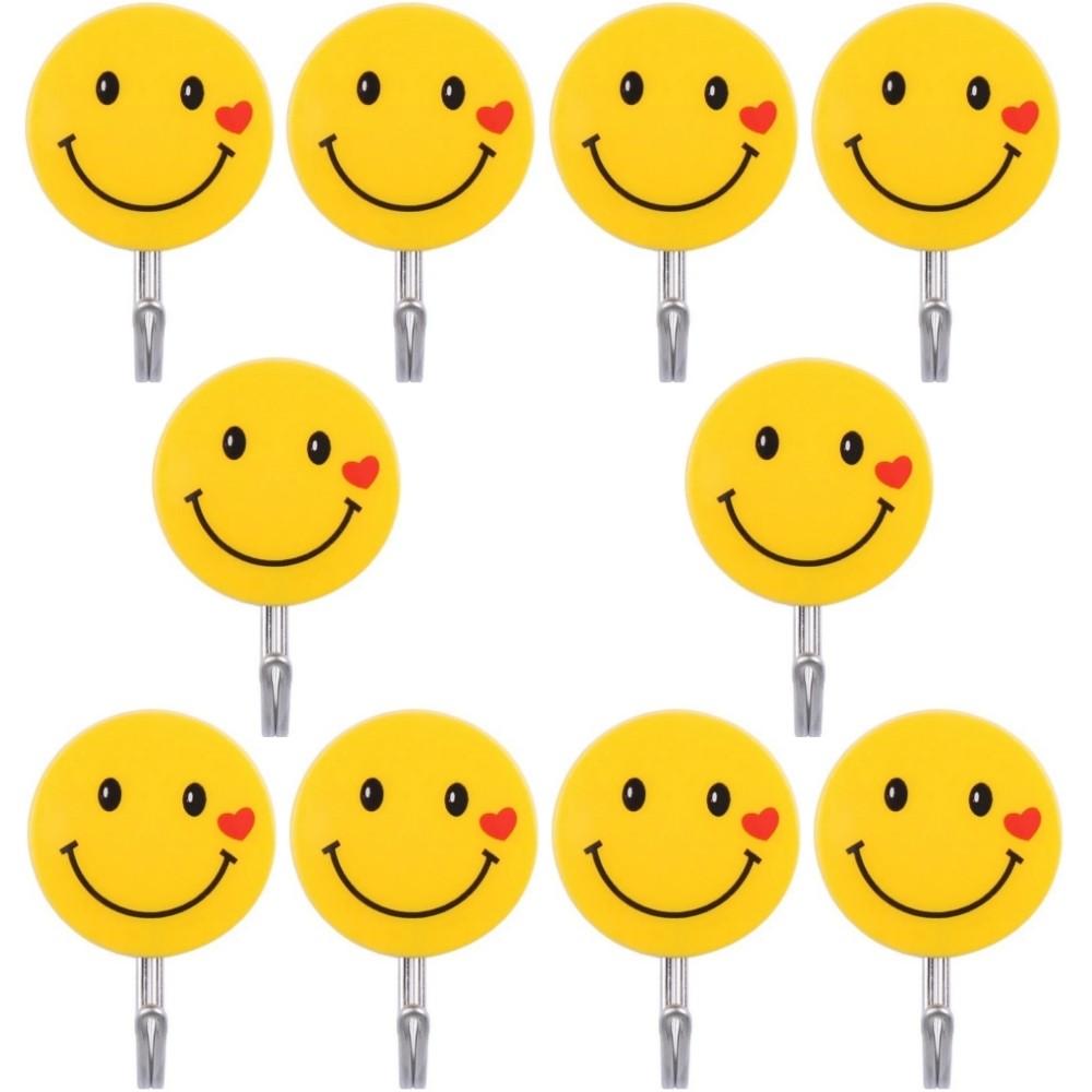 Kit 10 Ganchos Autoadesivo Para Parede Emoji Carinha Smile