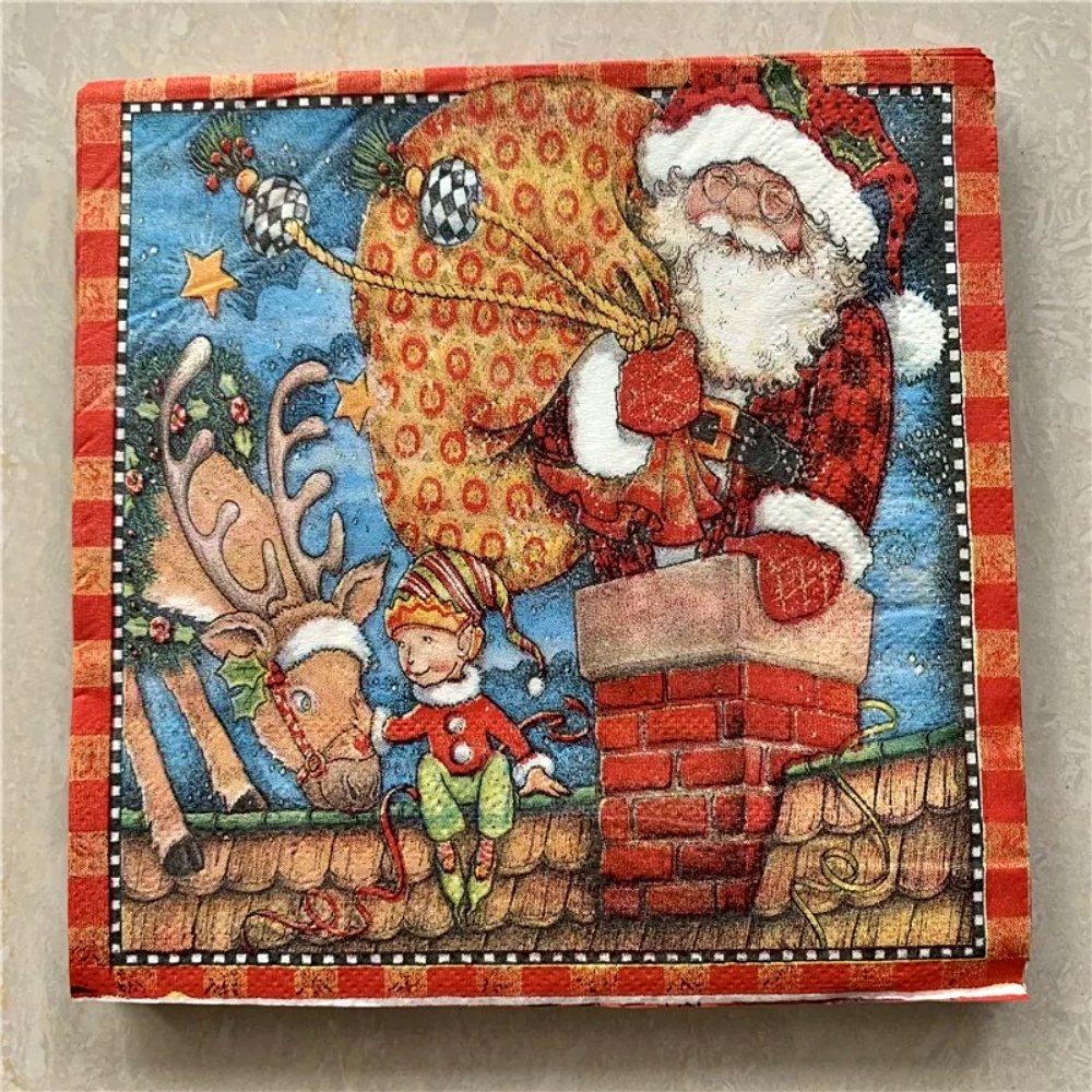 Kit 10 Papel Guardanapo Natalino Mesa Decoração De Natal
