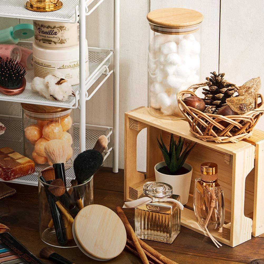 Kit 10 Pote De Vidro Para Mantimentos Com Tampa Bambu 200ML