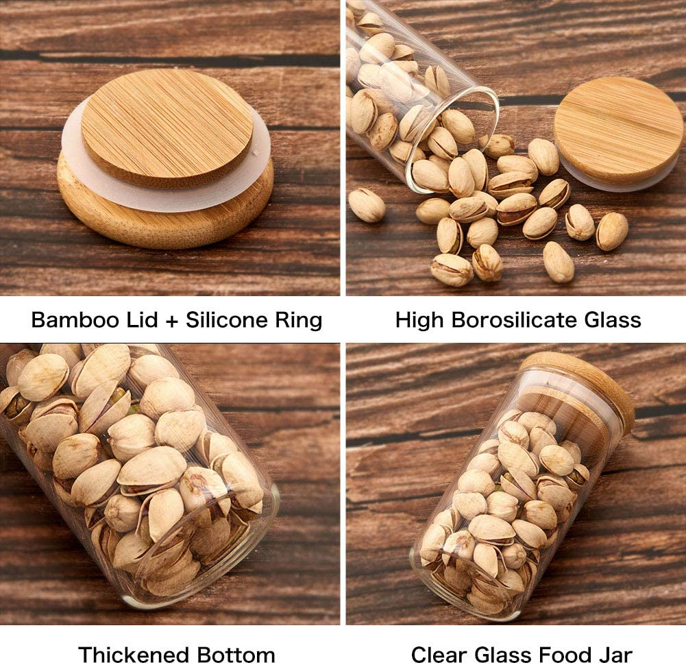 Kit 10 Potes De Vidro Para Mantimentos Com Tampa Bambu 300ML