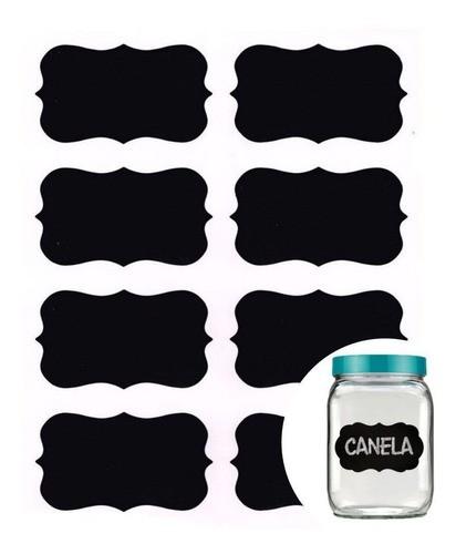 Kit 12 Etiquetas Adesiva Quadro Negro Para Potes De Tempero