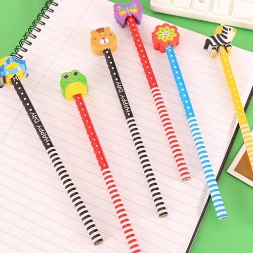 Kit 12 Lápis Com Borrachas Divertidas Material Escolar