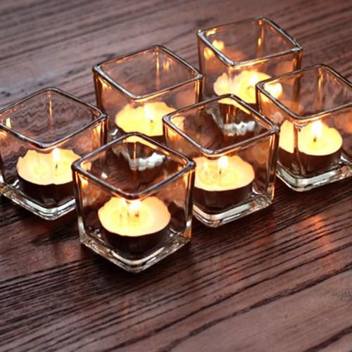 Kit 12 Mini Vasos Castiçal Cachepot Quadrado Vidro 5,2X5,2