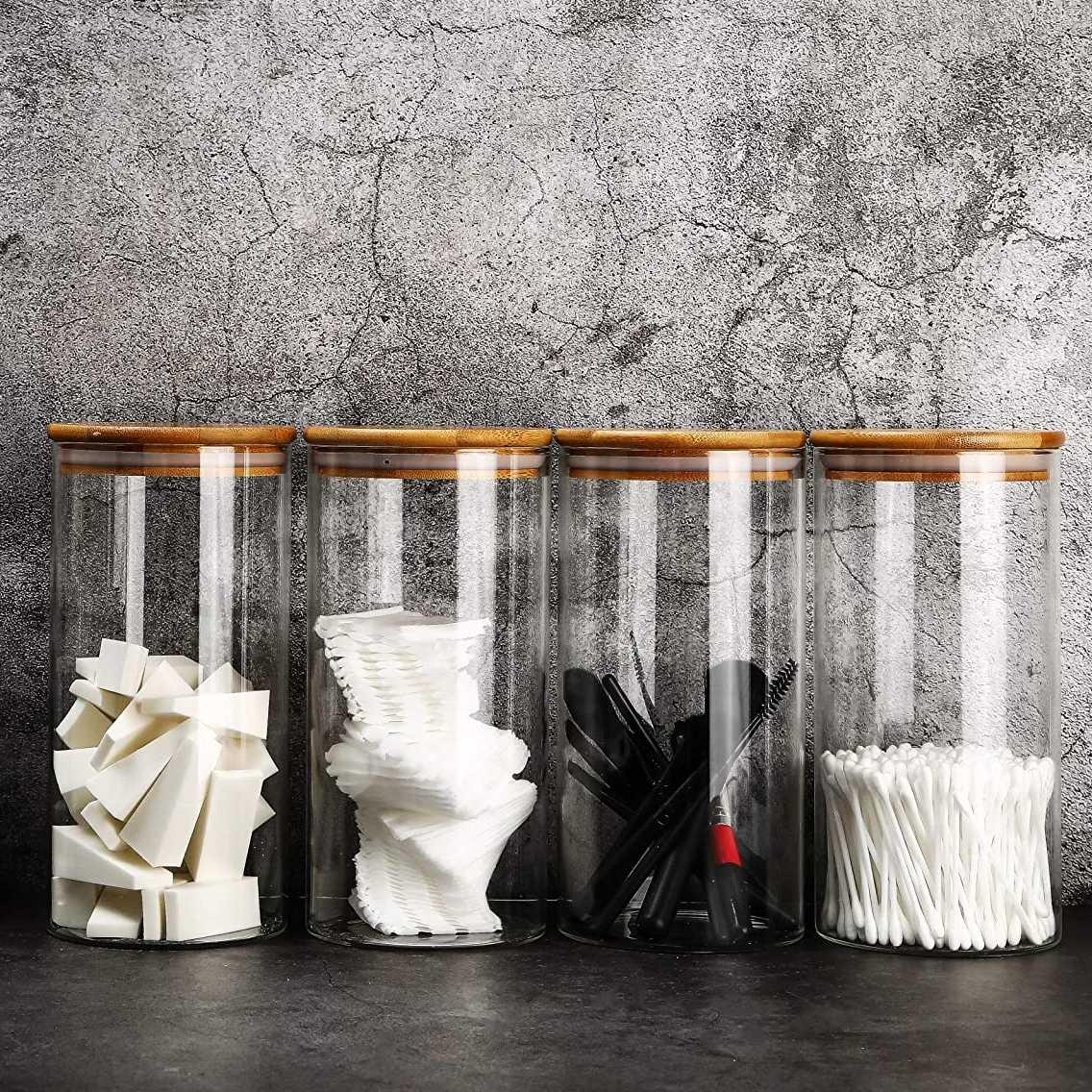 Kit 12 Potes De Vidro Para Mantimentos Com Tampa Bambu 600ML