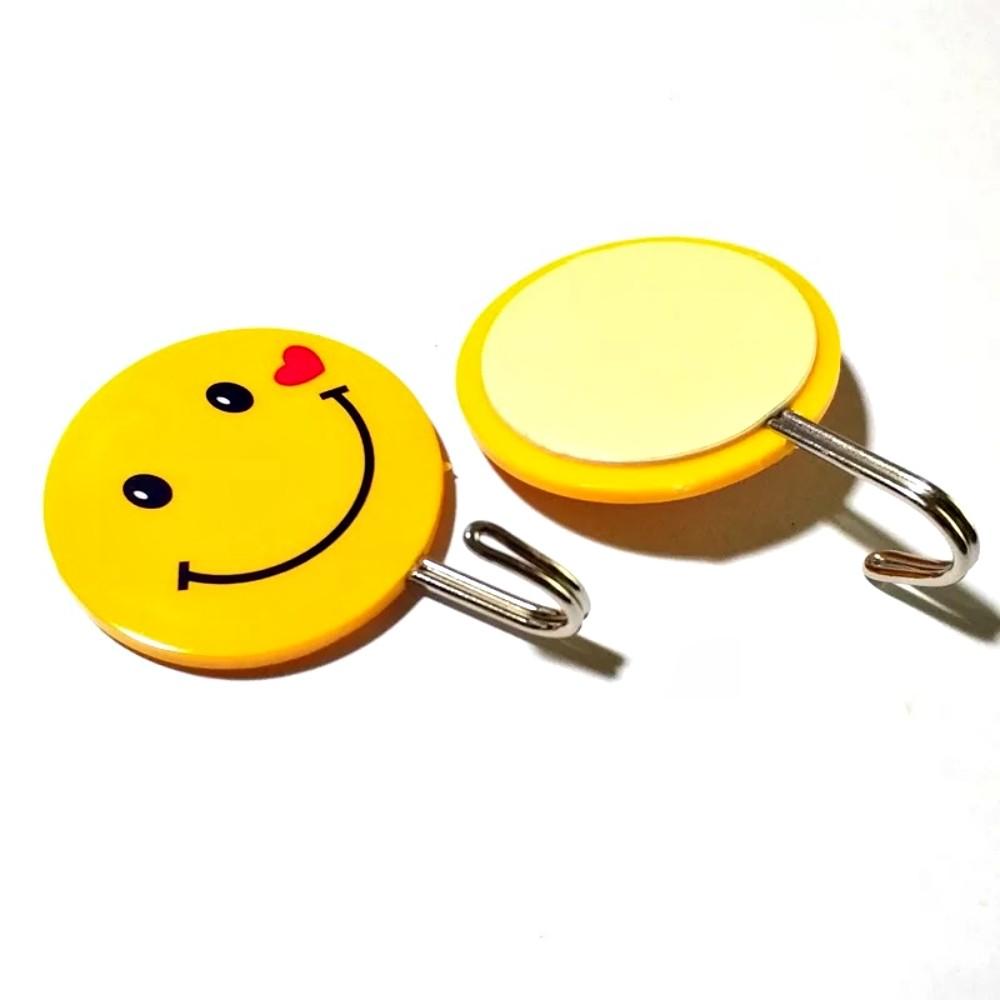 Kit 20 Ganchos Autoadesivo Para Parede Emoji Carinha Smile