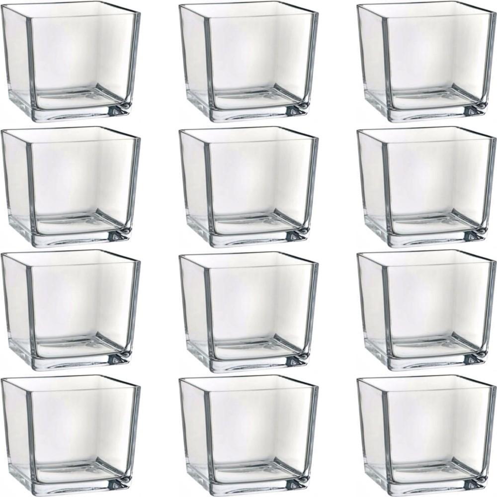 Kit 24 Mini Vasos Castiçal Cachepot Quadrado Vidro 5,2X5,2