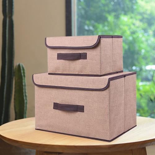 Kit 2 Caixas Organizadora Tecido Tampa Dobrável