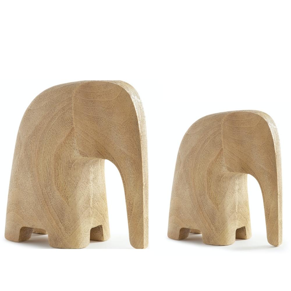 Kit 2 Escultura Decorativa Elefante Poliresina Marrom