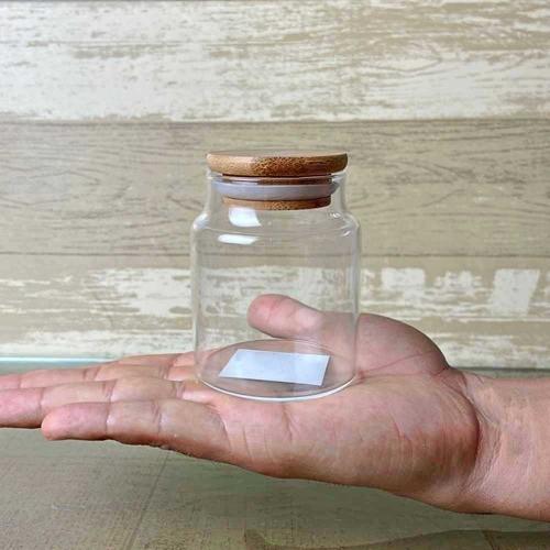 Kit 2 Frascos Pote De Vidro Com Tampa De Bambu 160ml