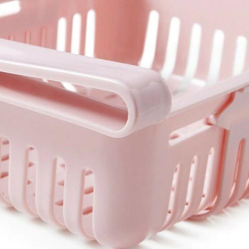 Kit 2 Organizador Ajustável Cozinha Geladeira Multiuso Rosa