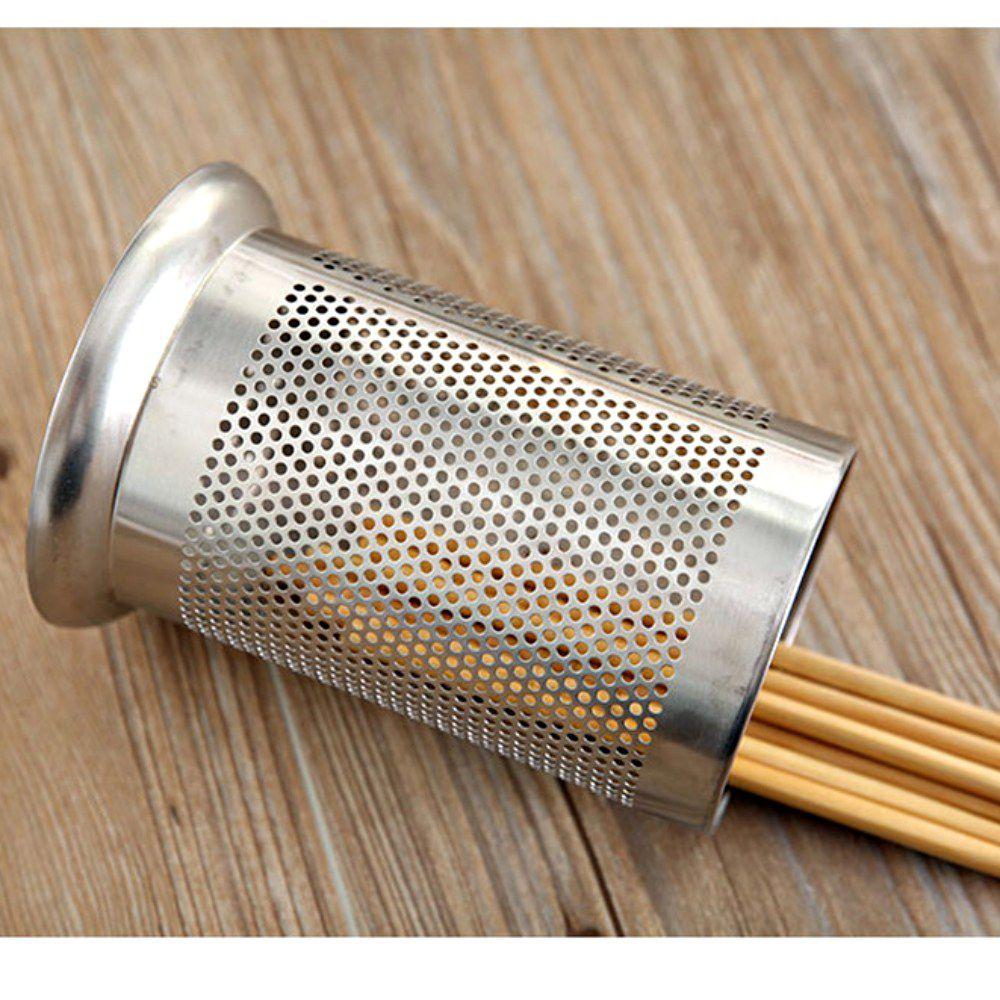 Kit 2 Porta Talheres Escorredor Inox Redondo Vazado Cozinha